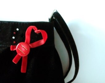 Black and red party purse, love bag, red heart on black velvet, prom party, evening bag,  st Valentine purse