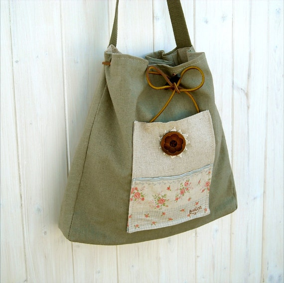 MARY JANE sage muted green linen cotton fabric tote bag