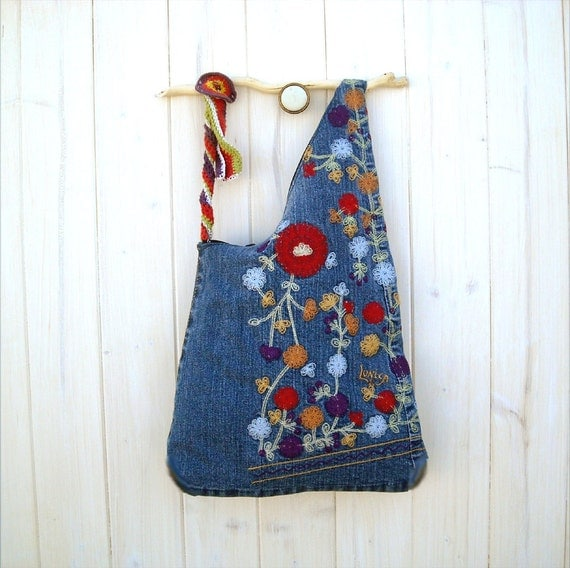 RESERVED FOR ROBIN Boho bag colorful blue denim wooden handle handbag embroidered