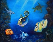 Original oil painting, on 16X20, half inch Gallery wrapped, ofTropical Reef with Sea turtle and dolphin