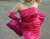 Marilyn Monroe's Pink Silk Satin Diamonds Are A Girls Best Friend Dress and Bow Belt