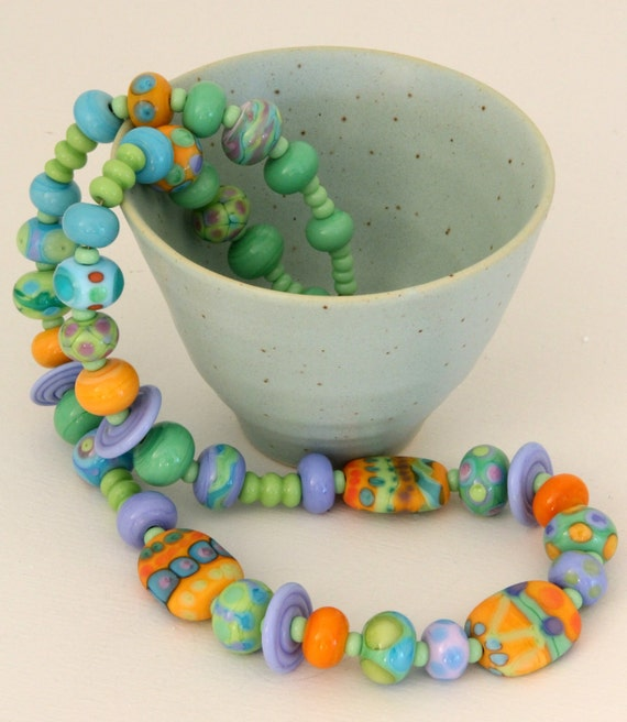 "Colorful and Fun. ""Mardi Gras I"" Lampwork Bead Necklace."