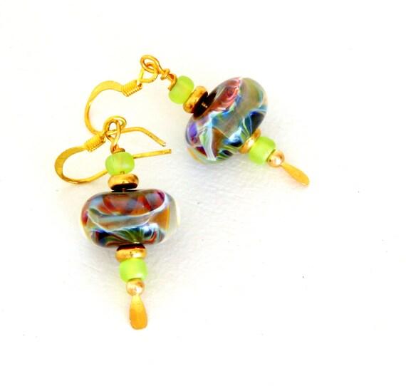 """Multicolor Boro Beaded Earrings. Lampwork Earrings """"Twirlie Girlies.""""  Earrings for Wild Women and Girls. Lampwork Jewelry. Boho Earrings."""