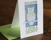 Because I Give a Hoot- blue and green ST0015