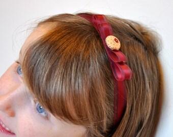 Burgundy and Cream Hairband, Headband