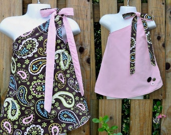 Only 1 Left : Paisely Reversible Corduroy Dress/Pinafore/Jumper for Baby/Toddler age 6-12 months