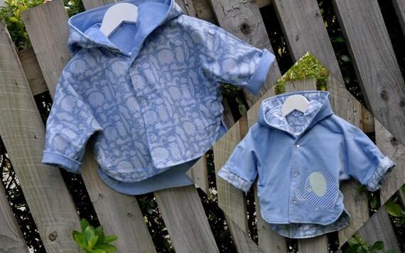 Reversible Baby Blue Corduroy Jacket/Coat (Elephant)
