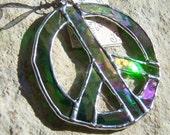Rainbow Emerald Peace Sign Stained Glass Suncatcher