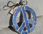 Iridescent Blue Stained Glass Peace Sign Suncatcher