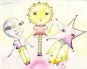 Moon, Sun, Stars Note Card