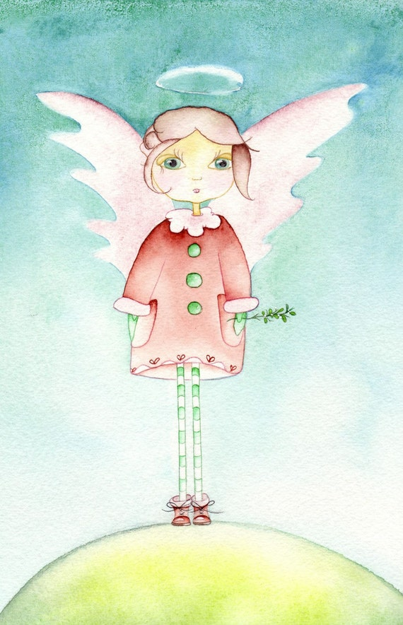Mistletoe Angel Large Greeting Card