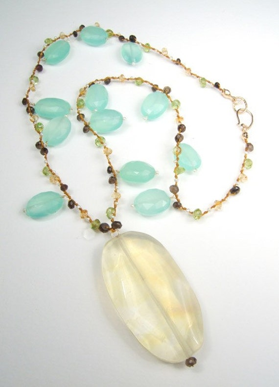 gorgeous pale yellow and green gemstone necklace for by