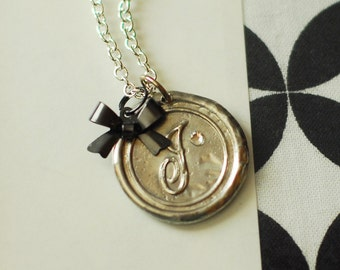 Monogrammed Initial Wax Seal Pendant with BLACK BOW / a b c d e f g h i j k l m n o p r s t u v w z