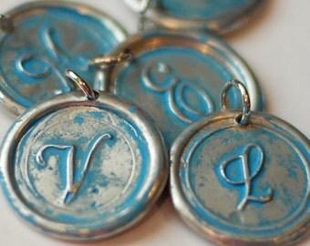 TURQUOISE / BLUE / AQUA Gift Idea / Personalized / Wax Seal Pendant / a b c d e f g h i j k l m n o p r s t u v w z