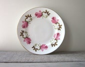 Small Pink Floral China Plate with Gold Trim RESERVED FOR JENN