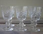 Set of Six Vintage Crystal Cordial Glasses