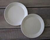 Pair of White Ironstone China Plates Johnson Brothers