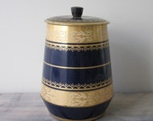Navy Blue and Gold Tin Canister RESERVED FOR JENN
