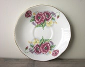 Small China Plate Dish with Hot Pink and Yellow Flowers