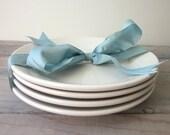 White Restaurant Ware Heavy China Plates Homer Laughlin Set of Four