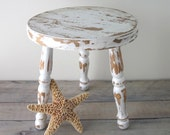 Shabby Chic White Wood Foot Stool