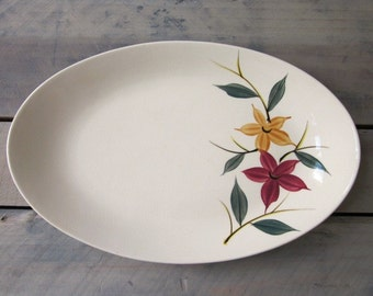 Vintage Oval Platter with Hand-Painted Flowers