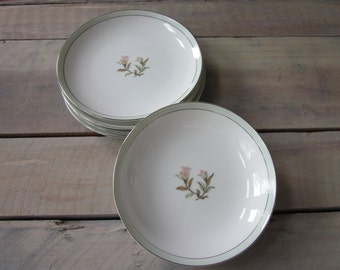 Shabby Chic China Dishes - 4 Dessert Plates and 2 Bowls