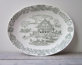 Creamy White and Green Oval Platter with House Building, Picnic, Amish, Early Americana Scene