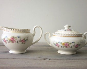 Shabby Chic China Creamer and Sugar Set