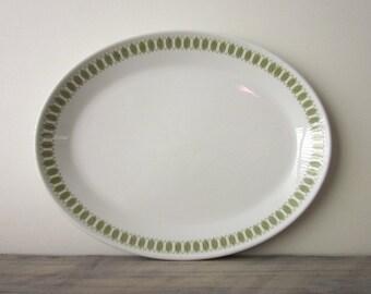 White China Platter with Sage Green Trim Royal Doulton