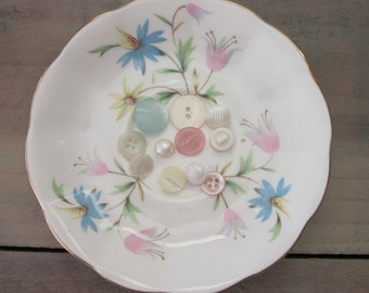 Small China Plate Dish with Pink and Blue Flowers