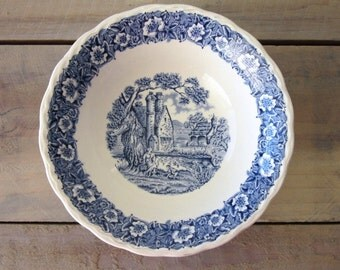 Blue and White Countryside China Bowl Transferware Staffordshire Grindley