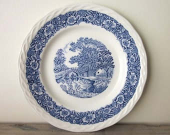 Blue and White Countryside China Dessert Plates Transferware Staffordshire Grindley Set of Three