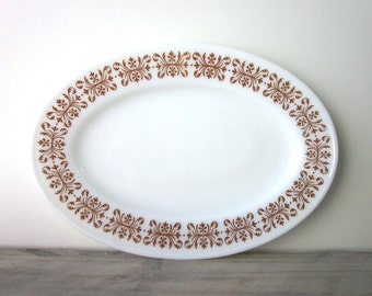 Oval Milk Glass Platter with Brown Trim Pyrex