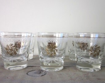 Mid Century Gold Starburst Cocktail Glasses Set of Six Barware