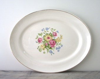 Shabby Chic Floral China Platter