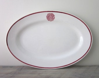 Ironstone China Oval Platter with Red Trim and Japanese Symbols Matsumura and Co.