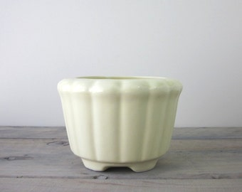 Pale Yellow Pottery Footed Planter Vase