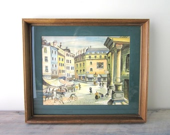 Vintage Watercolor Print in Wood Frame