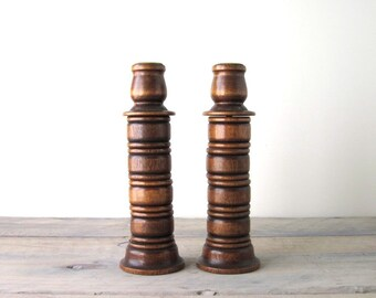 Wooden Maple Candlesticks with Brass Inserts and Felted Bottoms