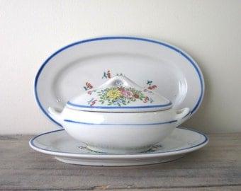 Vintage Children's Tea Set China Pieces with Floral Pattern