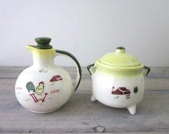 Brock of California Pottery Oil Carafe with Lid and Sugar Bowl with Lid
