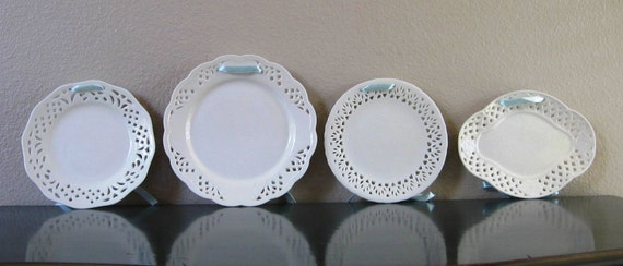 Set of Four White Decorative Hanging Plates