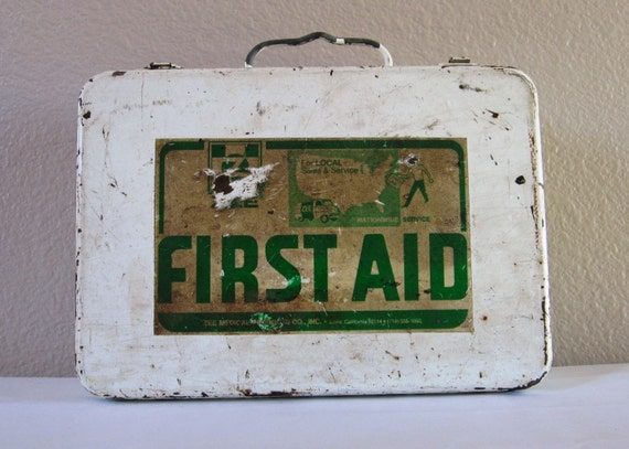 Old White Metal First Aid Kit