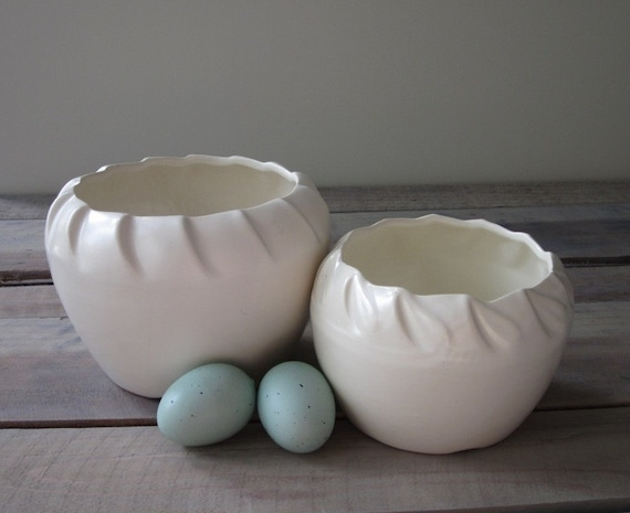 Pair of Creamy White Pottery Planters RESERVED FOR GRACE