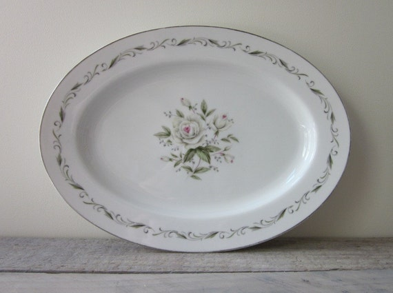 Oval China Floral Platter with White Flowers and Green and Grey Trim RESERVED FOR KATRINA