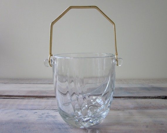 Crystal Ice Bucket with Gold Handle