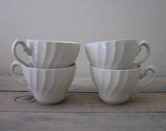 White Ironstone Teacups Set of Four Swirl Pattern