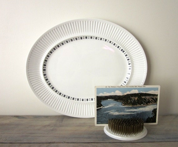 White English Ironstone China Platter with Grey and Black Design Fluted Edge