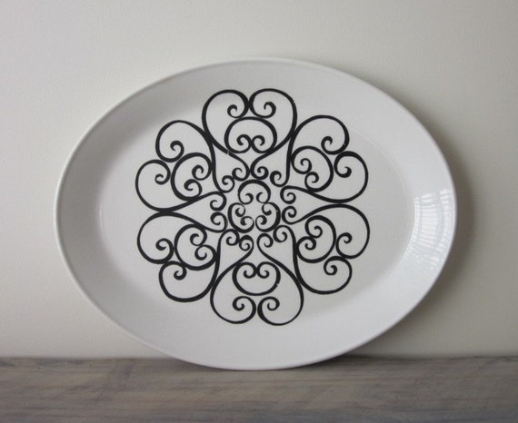 White Ironstone China Platter with Black Swirl Design